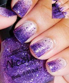 Ombre Purple Glitter Manicure.