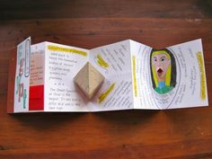 Geography Accordian Book - Softcover accordian-folded booklet inspired by the Egyptology book. All kinds of neat little features, including a moving (Cleopatra) mouth, a pop-up pyramid, a money envelope, and (not shown) a miniature booklet of facts stitched into a fold between pages.