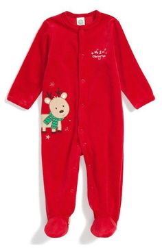 little me my first christmas footed velour one piece baby boys girls 3 months