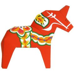 Dalecarlian Horse,Toys,Paper Craft,Europe,red,horse,lucky charm