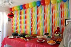 Get Your Craft On: Elmo& World Birthday- streamer wall Birthday Streamers, Rainbow Birthday Party, First Birthday Parties, First Birthdays, Diy Birthday, Birthday Ideas, Rainbow Parties, Birthday Balloons, Birthday Wall