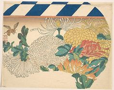 Chrysanthemums in Fan-shaped Design  Utagawa Hiroshige  (Japanese, 1797–1858)  Period: Edo period (1615–1868) Date: 1840s Culture: Japan Medium: Polychrome woodblock print; ink and color on paper