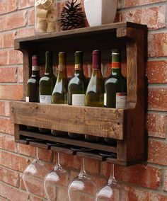 Rustic 6 Bottle Wall Mount Wine Rack with 4 Glass Slot by KeoDecor Wine Glass Holder, Wine Bottle Holders, Glass Rack, Rustic Walls, Rustic Wall Decor, Palette Deco, Palette Design, Rustic Wine Racks, Pallet Wine Rack Diy