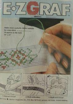 """E-Z-Graf Iron On Cross Stitch Grid Graph Transfer Paper 13"""" x 21"""" 10 Sq Per Inch"""