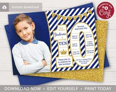 This editable and printable prince invitation is perfect for a boy's birthday party themed in royal blue stripes and gold glitter! 10th Birthday Invitation, Birthday Invitation Card Template, Prince Birthday Party, 10th Birthday Parties, History Page, Birthday Background, Unique Invitations, Gold Glitter, Blue Stripes