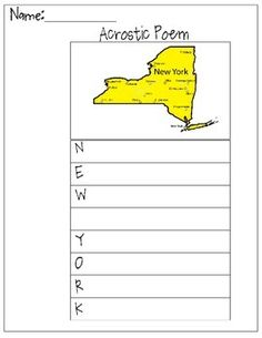 This is a New York Acrostic Poem worksheet for adding descriptive words about New York.