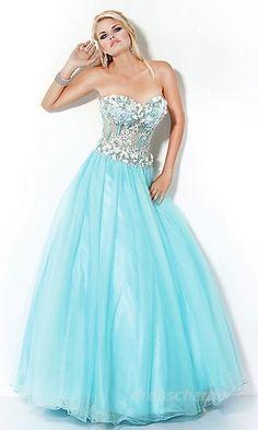 light blue and sparkles prom dress