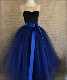 Full length navy tulle skirt. Navy tulle by TutusChicBoutique