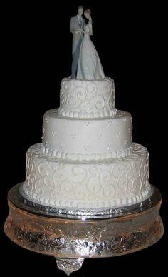 Buttercream Wedding Cake: Needs some purple somewhere