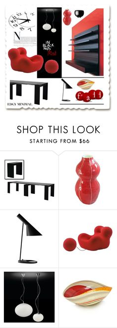 """project decorate: Edgy Minimal in Black and Red"" by fl4u ❤ liked on Polyvore featuring interior, interiors, interior design, home, home decor, interior decorating, Kri Kri Studio, Louis Poulsen, Vitra and Bover"