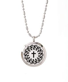 Another great find on #zulily! Stainless Steel Cross Essential Oil Diffuser Locket Necklace by Wise Creations #zulilyfinds