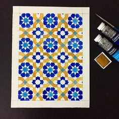 So i added cerulean blue in those small squares and in the middle part of the flowers. To be honest using yellow ochre wasn't something I was comfortable with, for me it felt like stepping out of my comfort zone. But I'm happy with the result. Still a lot to learn. ^^ . . . . . . . . . . . . . . . #art #artsy #winsorandnewton #symmetry #watercolor #geometric #geometrical #geometricart #islamicart #islamicgeometry #islamicgeometricdesign #art_empire #art_we_inspire #art_worldly #instaart…