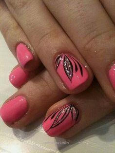 Pink and black nails…