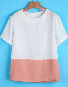 White Contrast Pink Short Sleeve Chiffon T-Shirt EUR€15.06