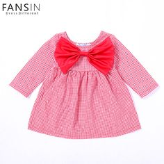 92e8a153a Aliexpress.com : Buy Newborn Baby Girls Casual Dress Sweet Big Bow Long  Sleeved Checked Princess Dresses Infant Girl Birthday Baptism Clothes  Vestido from ...