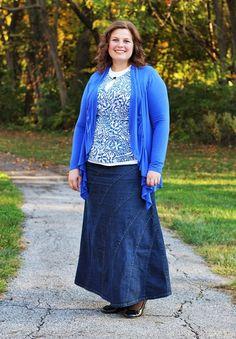 Rainbow Denim Skirt - Deborah & Co. Fashion style for the modest mom.
