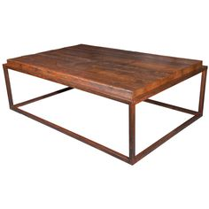 Coffee Table Made From Reclaimed French Pine on Metal Frame