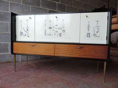1950s 60s sideboard italian Fornasetti heals era vintage ponti formica abstract