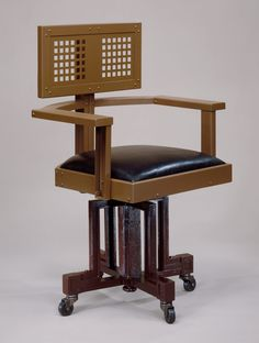 Revolving Armchair. Maker: Frank Lloyd Wright (American, Richland Center, Wisconsin 1867–1959 Phoenix, Arizona)  Date: ca. 1904  Culture: American  Medium: Steel, wood