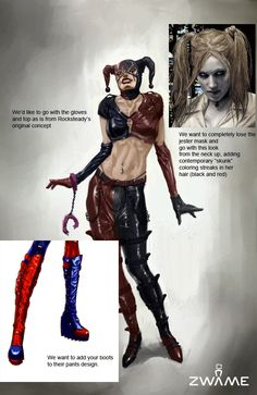 We love pin-up art as much as anyone, but there's something weird about this newly released concept art showing the evolution of Harley Quinn in Batman: Arkham City. Maybe it's just that it shows how formulaic these sorts of female characters have gotten. Batman Comic Art, Batman Comics, Batman Robin, Harley Quinn Comic, Harley Quinn Cosplay, Crime, Batman Arkham Asylum, Jason Todd Batman, Justice League Wonder Woman