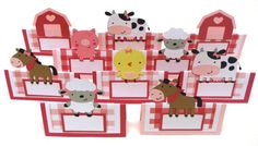 Items similar to 10 Girly Farm Animal Barnyard Themed Tent Style Food Table Label's Name Cards for A Farm Birthday Party on Etsy Farm Party Decorations, Farm Animals, Tent, Birthdays, Girly, Holiday Decor, Handmade Gifts, Jr, Home Decor