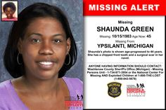 SHAUNDA GREEN, Age Now: 45, Missing: 10/15/1983. Missing From YPSILANTI, MI. ANYONE HAVING INFORMATION SHOULD CONTACT: Washtenaw County Sheriff's Office (Michigan) - Missing Persons Unit - 1-734-971-3954.