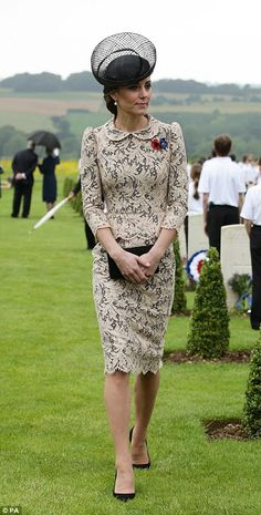 The Duchess of Cambridge wore an elegant cream lace dress as she joined Prince…