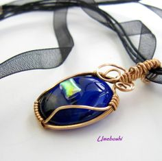 Red Brass Wrapped Dichroic Glass Cabochon Pendant - Iridescent Accent | Umeboshi - Jewelry on ArtFire