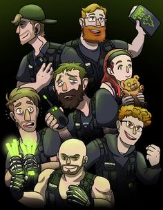 Fan art of the Achievement hunter show: Achievement Haunter. Hunter Pokemon, Roster Teeth, Oh The Humanity, Achievement Hunter, Cool Cartoons, Rwby, Lp, Youtubers, Video Game