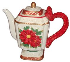Christmas Collection Teapot ~ Vintage Christmas Series, Holly ~ NEW