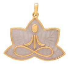 Lotus Pose Padmasana Sterling Silver Pendant gold plated