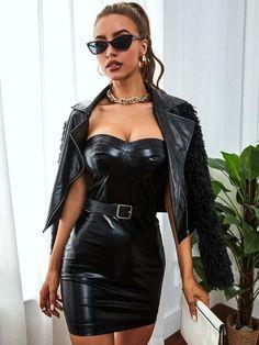 Sexy Outfits, Sexy Dresses, Fashion Outfits, Boho Outfits, Black Leather Dresses, Leather And Lace, Leather Skirt, 2000s Fashion, Dope Fashion