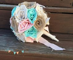 Peach and Mint Burlap Wedding Bouquet by 224Locust