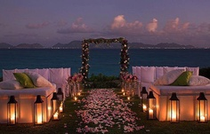 A SUNSET WEDDING ON THE BEACH  -   Hotel Villa del Mare has its private beach in one of the most beautiful coves anywhere.  See the cost of Maratea and the distance coast of the Cilento across the bay.
