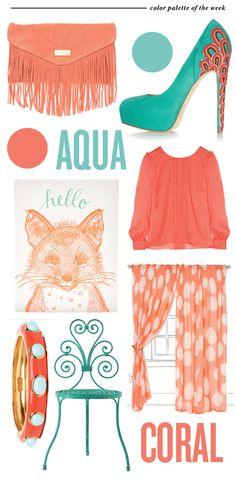 Coral (and Aqua!): http://matchbookmag.com/blog/wp-content/uploads/2012/03/coral-aqua-matchbookmag-colorpalette-heels.jpg
