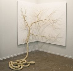 Exquisite installations by duo Mello + Landini unwind strands of ropes into delicate trees. #art #installation