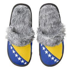 Bosnian Herzegovinian flag slippers Pair Of Fuzzy Slippers