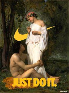 """Just do it! Davide Bedoni dá """"um toque"""" em pinturas do século XVIII e XIX introduzindo o logótipo da Nike."""