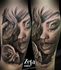 By ZETA TATTOO https://www.facebook.com/Zeta-Tattoo-429039373884070/ #girlxicanotattoo #catrinatattoo #aloetattoo #ink #vikingink