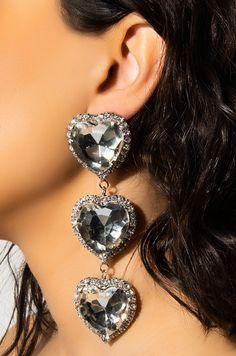 Large heart-shaped rhinestone dangle earring by AKIRA. Big Earrings, Heart Earrings, Statement Earrings, Festival Sunglasses, Unusual Jewelry, Body Jewelry, Jewellery, Luxury Jewelry, Akira