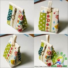 Patterns and Ideas for sewing Cosmetic Bag Small Sewing Projects, Sewing Crafts, Coin Purse Tutorial, Wallet Tutorial, Tutorial Sewing, Cute Coin Purse, Mini Purse, Pouch Pattern, Diy Coin Purse Pattern