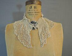Vintage Crochet Lace Collar for Blouse or Dress, Antique Edwardian High Neck