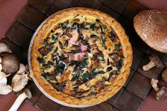 Four-Mushroom Beet Greens Quiche Quiche Recipes, Greens Recipe, Green Cleaning, Beets, Superfood, Main Dishes, Stuffed Mushrooms, Brunch, Dinner