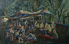 'Summer Terrace' painting, by MAIA OPREA, more on www.maia-fine-art.com