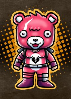 "Beautiful ""PInk Teddy"" metal poster created by Andriu Ilustración. Our Displate metal prints will make your walls awesome. Chibi Characters, Winner Winner Chicken Dinner, Team Leader, Wood Patterns, Poster Making, New Artists, Cool Artwork, Poster Prints, Posters"