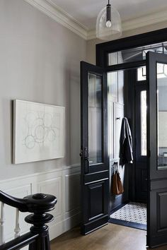 Black Interior Doors - Dramatic Or Conventional? When you need a truly dramatic, dramatic look, nothing is more dramatic than the use of black interior doors. Black doors give you the kind of feel that . Black Interior Doors, Black Doors, Interior Paint, Black And White Hallway, Interior Decorating, Black White, Elegant Home Decor, Elegant Homes, Warm Home Decor
