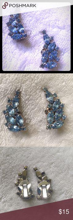 Ice blue vintage gem clip earrings Pale blue gem clip earrings. Graceful fan shape and vintage sparkle. Weiss Jewelry Earrings