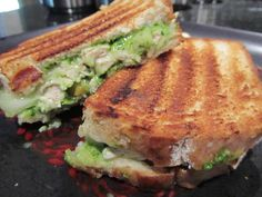 "GRILLED CHICKEN AND PEAR SANDWICH WITH SPINACH PESTO ~ Don't let the fluorescent green put you off–it's all natural. And delicious! Even my guys, who are a bit wary of food with a ""foodie"" look, gobbled down these sandwiches. Of course, I don't think they were aware of the pear in the middle :)"