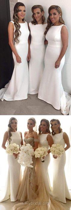 White Bridesmaid Dresses Mermaid, Long Bridesmaid Dress Modest, Scoop Neck Silk-like Wedding Party Dresses Satin Ruffles