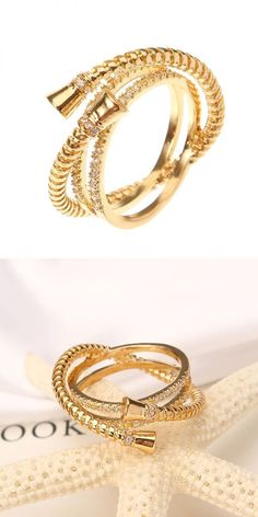 Rings 2005 Luxury Sterling 24k Gold Plated Unique Thread Three Round Overling Women Jewelry